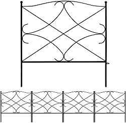 "Decorative metal garden fencing panels made from extra strong, thick steel wire with a black PVC powder coated finish which protects from rust and ensures a long life outdoors, while still giving a smart ""wrought iron"" appearance Ideal for defining b..."