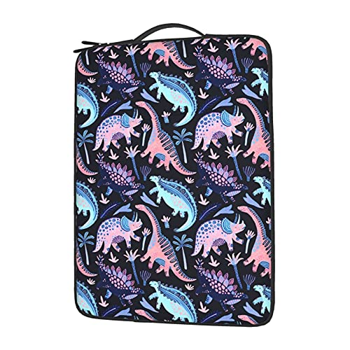 Pink and Blue Cartoon Jurassic Dinosaur Coconut Tree Themed Printed Laptop Bag 13¡° 14¡° 15.6¡° Expandable Briefcase for Men Women for Computer Business Bag