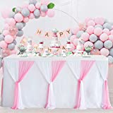 Pink Tulle Table Skirts 6ft Baby Shower Tablecloth for Girl Gender Reveal Tulle Table Cloth Cover Tutu Table Skirt for Birthday Party Cake Dessert Banquet Table Decorations