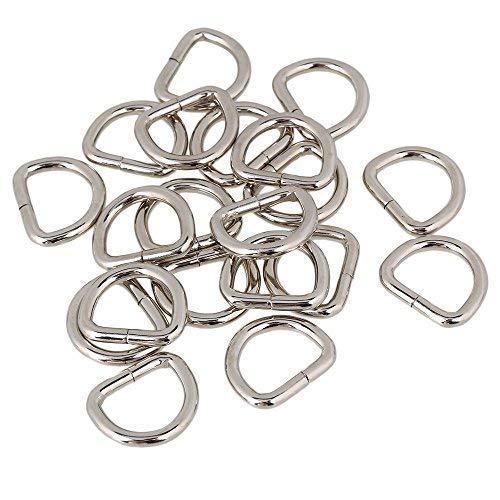 Trimming Shop 30 mm Metall Halbring Silber Halbring Pendel Ring für Gurtband Verschluss Verstellbare TH Ringe für Bell Halsband Gymnastik Gurtband DIY Projekte