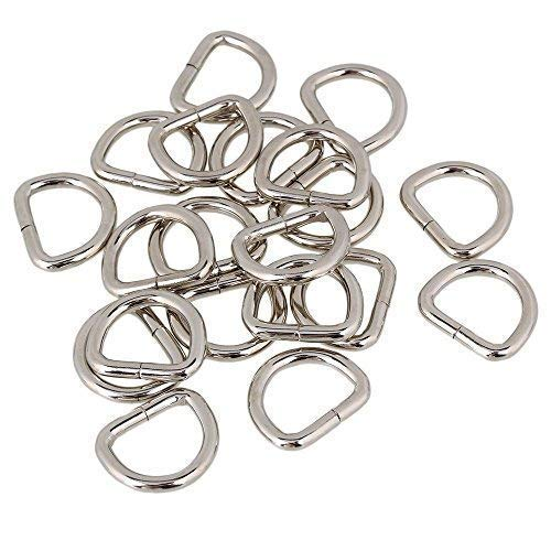 Trimming Shop Metallringe D für Befestigung Gurtband, Kunst und Handwerk, Haustier Kragen, Verstellbar Reparatur Beutel - Silbern, 25mm