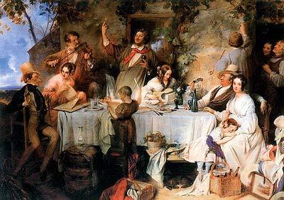 Kunstdruck Wein, Weib und Gesang Danhauser Biedermeier Malerei 19. Jahrhundert A3 08