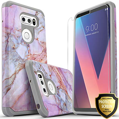 LG V30 Case, LG V30 Plus Case, LG V35 ThinQ Case, With [Premium Screen Protector Included], Starshop Shock Absorption Drop Protection Dual Layers Impact Advanced Rugged Protective Cover -Marble Patter