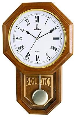 "Pendulum Wall Clock - Decorative Wood Wall Clock with Pendulum - Schoolhouse Clock Regulator Design, Battery Operated & Silent, Wooden Pendulum Clock for Living Room, Office, Home Decor & Gift 18""x11"""