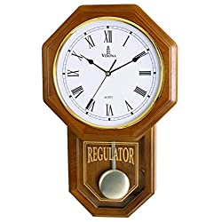 Pendulum Wall Clock - Decorative Wood Wall Clock with Pendulum - Schoolhouse Clock Regulator Design, Battery Operated & Silent, Wooden Pendulum Clock for Living Room, Office, Home Decor & Gift 18x11