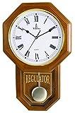 Pendulum Wall Clock - Decorative Wood Wall Clock with Pendulum - Schoolhouse Clock Regulator Design, Battery Operated & Silent, Wooden Pendulum Clock for Living Room, Office, Home Decor & Gift 18'x11'