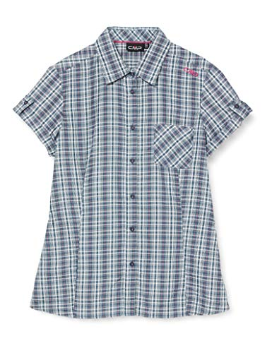 CMP Short-Sleeved Shirt with Pocket, Camicia Donna, Petrol-Bouganville, 42