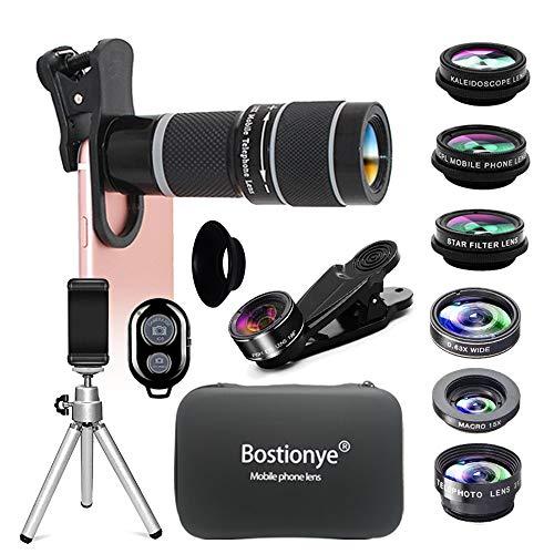 携帯レンズ(HD10イン1レンズキット20倍シングルレンズズーム望遠鏡)0.63広角15Xマクロ198°フィッシュアイ2X望遠CPLフィルタ万華鏡スターフィルタスマホレンズ三脚アイマスク(ブラック)