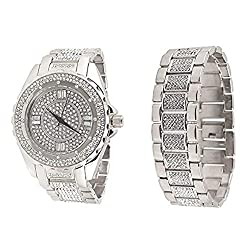 Silver Platinum Tone BM Analog Lab Diamond Watch & Bracelet Set