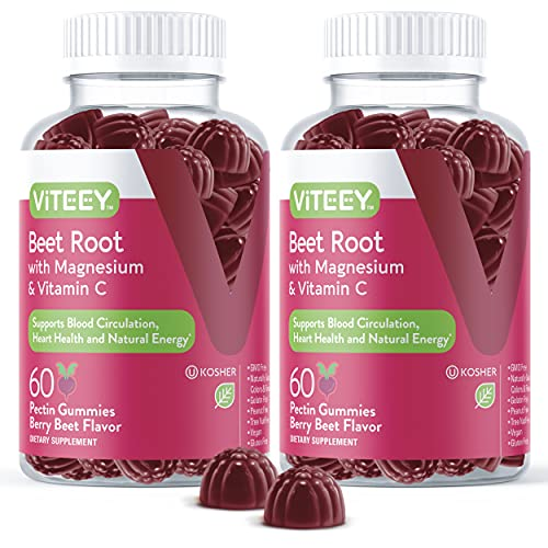 Beet Root Gummies with Magnesium & Vitamin C - Supports Healthy Circulation & Blood Pressure - Energy & Nitric Oxide Booster, Dietary Supplement & Immune Health - Berry Beet Flavor [60 Count 2 Pack]