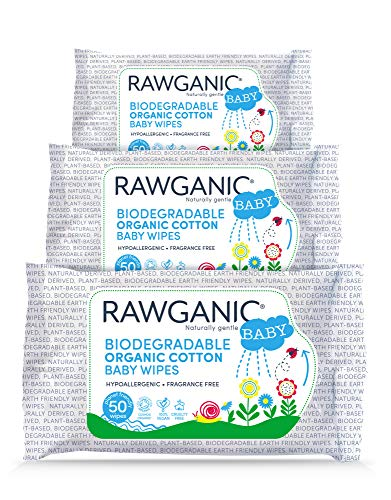 RAWGANIC Gentle Biodegradable Organic Cotton Baby Wipes | Hypoallergenic Wet Wipes for Nappy Change, Face and Body Cleansing | with Aloe Vera | 3 Packs of 50 (150 wipes)