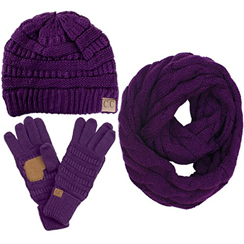 ScarvesMe 3pc Set Trendy Warm Chunky Soft Stretch Cable Knit Beanie Scarves Gloves Set (Purple)