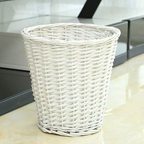 Round Wicker Trash CanHandwoven Waste Paper Bin Rattan Rubbish Bin for Bedroom Kitchen Bathroom Office Garbage can-White 18x28x28cm7x11x11inch