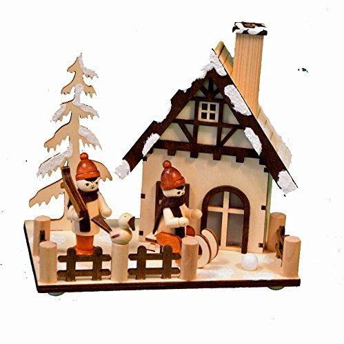 yanka-style Räucherhaus Räucherhäuschen Winterkinder aus Holz, 15 x 10 x 15 cm Weihnachten Advent Geschenk (20173)