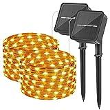 [2 Stück] Solar Lichterkette Aussen, 24M 200 LED wasserdichte Lichterketten mit Kupferdraht DIY Hochzeitsfeier Patio Geburtstag Gartenbäume Dekor (Warmweiß)