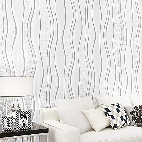 Papel Pintado Beige Moderno Rayas Tela No Tejida Dormitorio Cocina Salon Pared De Fondo Hotel Oficina Tienda De Ropa Sin Pegamento 0.53 * 9.5 M