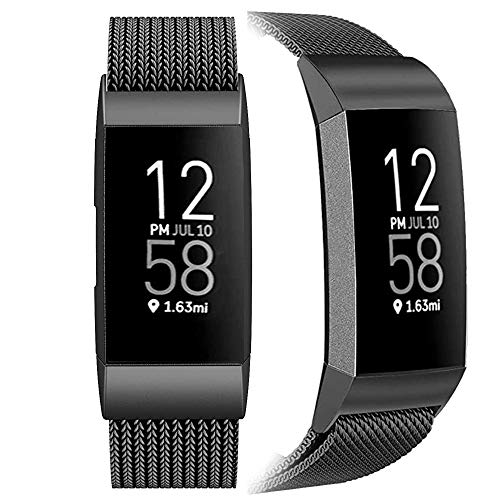 SINPY Correa para Fitbit Charge 3,Metal Acero Pulsera Repuesto Correas Compatible con Fitbit Charge 4/Fitbit Charge 3 SE,Negro