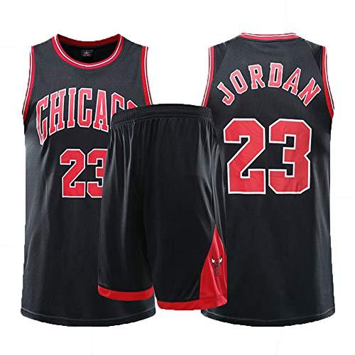 # 23 Michael Jordan Chicago Bulls Basketballtrikot - Herren T-Shirts + Shorts Weißer Anzug, Unisex Training Wear High School Sportswear Fans Sweatshirt, Polyestergewebe-Black-S