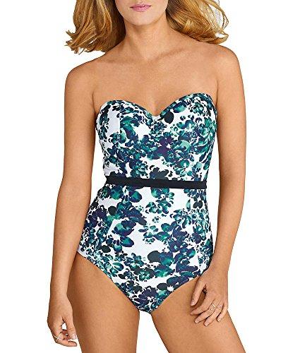 Panache Women's Florentine Molded Bandeau Bra-Sized One Piece Swimsuit, Blue/Flora, 32 E