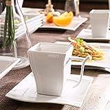 MALACASA, Serie Flora, 56 TLG. CremeWeiß Porzellan Geschirrset Kombiservice Tafelservice mit je 6 Schälen, 6 Tassen, 6 Untertassen, 12 Dessertteller, 12 Suppenteller, 12 Speiseteller und 2 Platte - 3