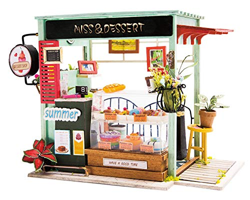 Hands Craft DGM06 (Dessert Shop) DIY 3D Wooden Miniature Dollhouse Build Your Own Crafting Kit with Real LED Lights, Educational STEM Hobby Project for Kids (14) and Adults