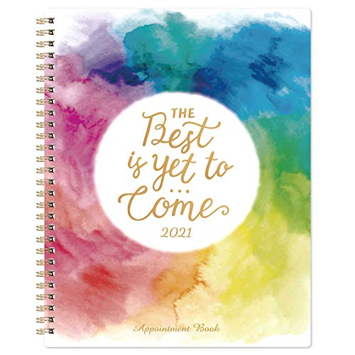 """2021 Weekly Appointment Planner - 2021 Daily Hourly Planner 8"""" x 10"""", Jan. 2021 - Dec. 2021, 30-Minute Interval, Flexible Soft Cover, Twin-Wire Binding, Lay - Flat"""