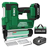 KIMO 20V 18 Gauge Cordless Brad Nailer/Stapler Kit, 2 in 1 Cordless Nail/Staple Gun w/ Lithium-Ion Battery&Fast Charger, 18GA Nails/Staples, Single or Contact Firing for Home Improvement, Woodworking