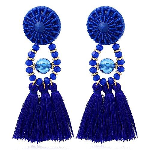 SparY Pendientes de Moda Bohemio con Borla Larga y Flecos Retro, Pendientes Colgantes para Mujer, Azul Marino, Tamaño Libre