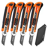 REXBETI 4-Pack Utility Knife with Extra 10 Blades. Industrial Grade Retractable Box Cutter for...