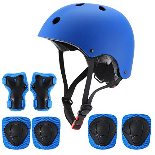 Adjustable Helmet CPSC Certified for Ages 3-8 Years Boys Girls with Protective Gear Set Knee&Elbow Pads and Wrist Guards for Skateboard, Bike, Roller Skating, Cycling, Scooter. (Blue)