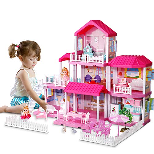 Temi Kids Dreamy Dollhouse Building Toys Figure w/ Furniture, Accessories and Dolls, DIY Cottage Pretend Play Set for Ages 3+ Years, for Toddlers, Boys & Girls (7 Rooms)