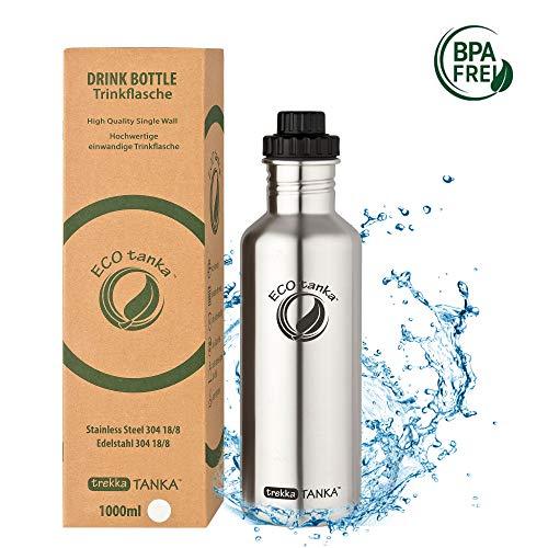 ECOtanka trekkaTANKA Trinkflasche aus Edelstahl 1 Liter auslaufsicher - Wasserflasche BPA frei mit Reduzier-Verschluss