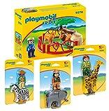 Playmobil 1-2-3 Set composé de: 9378 Enceinte avec Lions, 9257 Zèbre, 9381 Girafe, 9382 Éléphant
