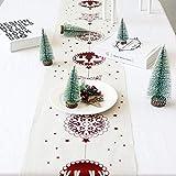 Hawiton Chemin de Table de Noël Rouleau Décoration de Table Coton et Lin Nappe de Table Noel 28CM*270CM