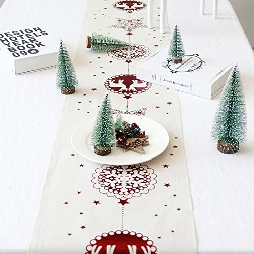 Hawiton Camino de Mesa Navideño Decoración de Fiesta Mantel de Navidad para Decoración Manteles de Vacaciones Bandera de Mesa para el Banquete de Acción de Gracias de Navidad, 28 * 270 cm