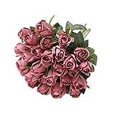 Hawesome 3 racimos de Flores Artificiales de Seda, brotes de Rosas realistas, arreglo para decoración de Bodas, Fiestas, centros de Mesa de Centro de Mesa de Aspecto Natural sin florero