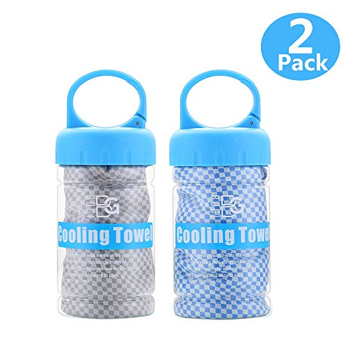 BOGI 2 Pack Cooling Towel for Instant Cooling - Use as Cooling Scarf Headband Wristband Bandana - Soft Cool Bamboo Fiber - Stay Cool for Yoga Travel Climb Golf Football Tennis & Outdoor (Blue+Grey)