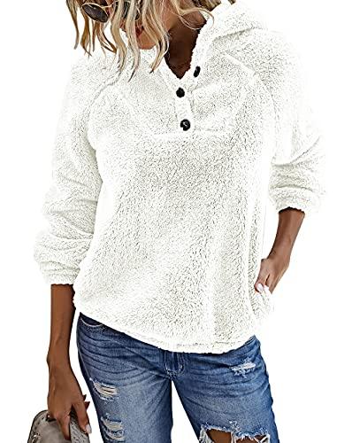 KIRUNDO 2021 Winter Women's Fleece Hoodies Sweatshirts Long Sleeves Shaggy Pullovers with Pockets Short Tops (Medium, Button-Beige)