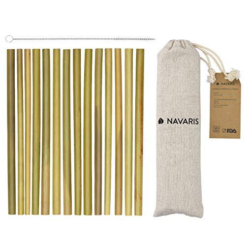 Navaris Pajitas de bambú Reutilizables - Set de 14 cañitas biodegradables para Beber con Cepillo de Limpieza y Bolsa de Lino - Ecológicas y sin BPA