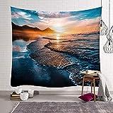 N/X WandteppichGeometrie Tapisserie Landschaft Deich hängen Strand runder gewebter Landschaftsstoff Decke Pop Tagesdecken Rechteck Dekor