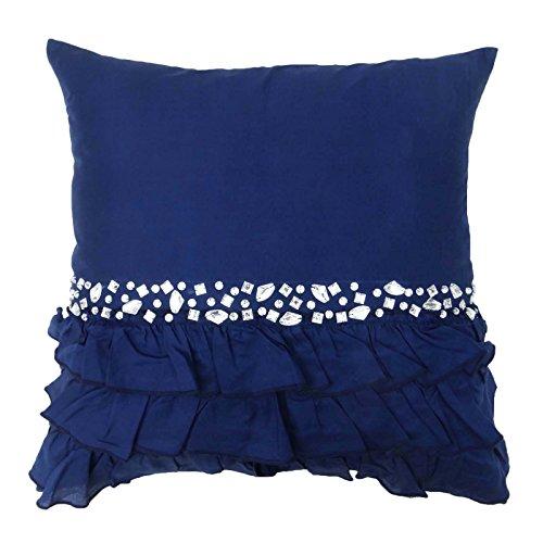 S4Sassy Hechos a Mano del Amortiguador de la Cubierta Decorativa de Piedra Azul Marino con Cuentas Funda de Almohada Cuadrado de 24 x 24 El Tiro