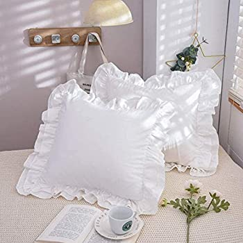 TEALP 100% Cotton Ruffle Pillow Shams 18x18 inches White Euro Pillow Sham Covers Square Cushion Cases with Ruffle Cotton Shabby Chic Rustic Pretty Vintage Bed Euro Pillow Cases Cute Plain- 2 Pack