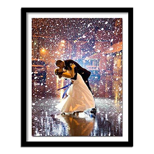 CHJTKDT Pintura De Diamantes 5D Beso De Amor Romantico Diamond Painting Bordado Cuadros De Punto De Cruz Suministros De Arte Manualidades Lienzo 30 * 40cm