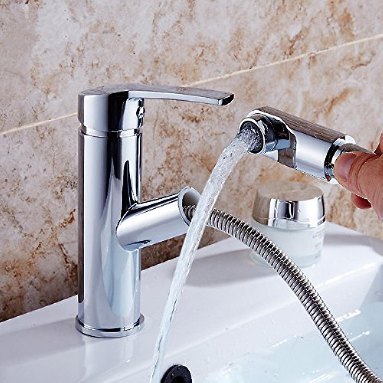 Bijjaladeva Wasserhahn Bad Wasserfall Mischbatterie WaschbeckenWaschtisch Armatur Voll Kupfer Ziehen Hahn Waschbecken im Bad Eine Bohrung für Becken von hei und Kalt-Hahn B