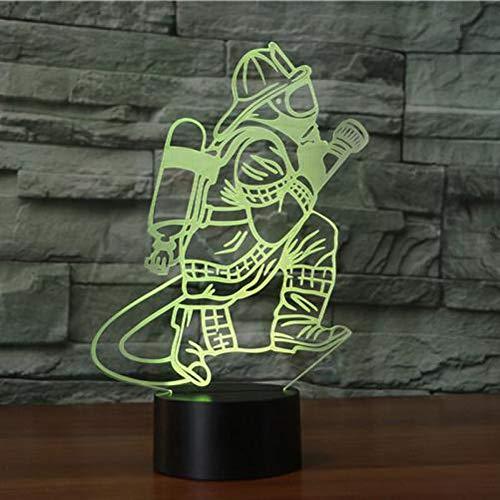 3D Illusion Nuit Lumière Led Pompier Veilleuse Lampe 7 Couleur Tactile Lampe Art Décor Pour Chambre Chevet Table Enfants Cadeau Noël Fête Anniversaire