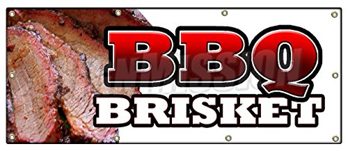 "36""x96"" BBQ Brisket Banner Sign Slow Cooked Texas North Carolina Pork Beef Good"