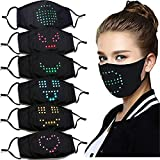 LED Light up Face Mask USB Rechargeable Voice-activated Luminous Mask Masquerade Festival Party Nightclub Christmas Mask (1Pack)