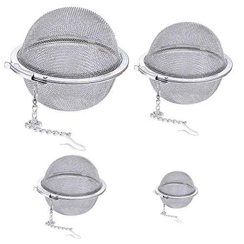 Saijer Gewürzsieb, 4 Stück Edelstahl Gewürzkugel Teesieb mit Kette Gewürzkugel für Losen Tee Mulling Gewürze Kräuter Würze (4 Größen)