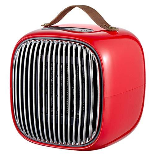 Pkfinrd Mini-keramische ventilatorkachel, 800 watt, draagbaar touch, elektrische warmte, koelmodus, snelle verwarming voor onder het bureau, vloer, kantoor, thuis, 220 V, rood