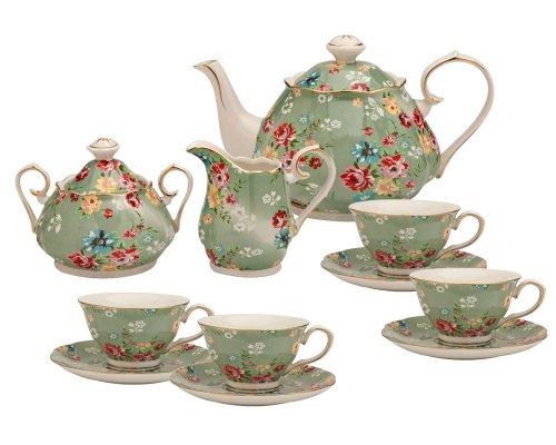 Gracie China by Coastline Imports – Juego de té (11 piezas), color verde y rosa